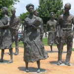 Statues commemorating the nine black students who integrated Central High School in 1957